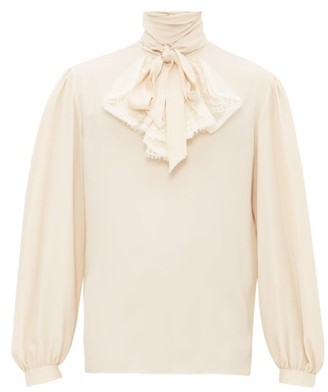 Gucci Lace-front Crepe Shirt - Cream