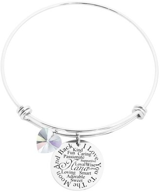 I Love You to the Moon Bangle Made with Crystals from Swarovski by Pink Box Nana Silver