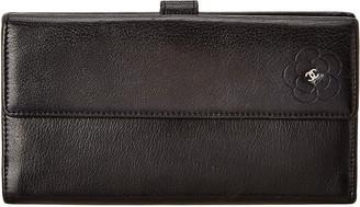 Chanel Black Lambskin Leather Camellia Wallet