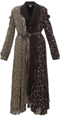 Junya Watanabe Floral-print Wool-blend And Crepe Coat - Black Multi