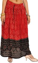 Exotic India and Black Long Skirt with Bandhani Print