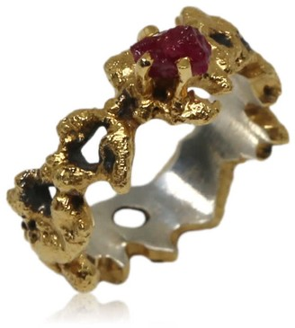 Karolina Bik Jewellery Out Of The Sea Ring With Raw Ruby