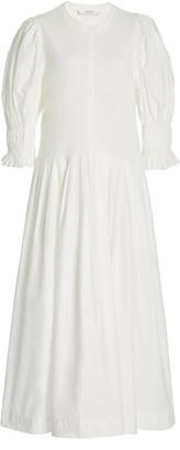 Sea Karla Pleated Cotton-Poplin Midi Dress