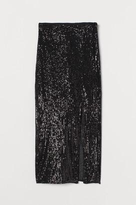 H&M Slit-front Sequined Skirt