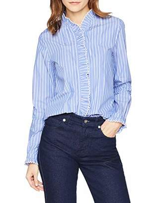 Scotch & Soda Maison Women's Clean Shirt with Ruffle and Embroidery Details Blouse,Medium
