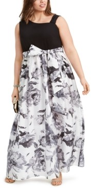 R & M Richards Plus Size Solid & Floral-Print Gown
