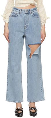 Rokh Blue Denim Slashed Straight-Leg Jeans