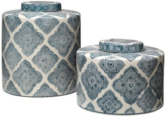Jamie Young Oran Canisters - Blue & White Ceramic - Set of 2