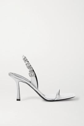 Alexander Wang Ivy Crystal-embellished Metallic Leather Slingback Sandals - Silver