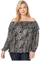 MICHAEL Michael Kors Plus Size Chain Off Shoulder Top (Black/Silver) Women's Clothing