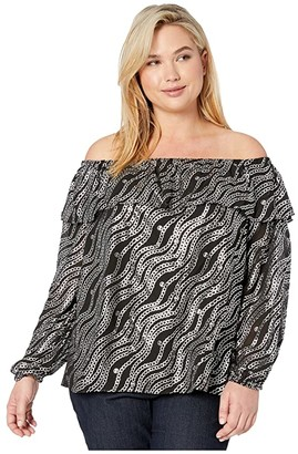 MICHAEL Michael Kors Size Chain Off Shoulder Top (Black/Silver) Women's Clothing