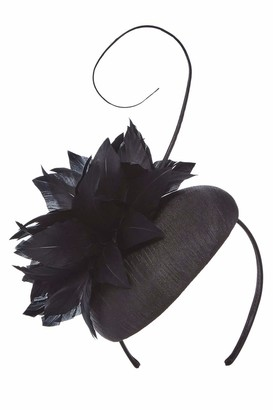 Roman Originals Women Feather & Quill Pillbox Fascinator - Ladies Smart Special Occasion Evening Wedding Guest Mother of Bride Groom Ascot Races Day Vintage 20s Hat Accessory - Black - Size ONE