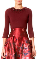 Carolina Herrera Beaded Crewneck Wool Sweater