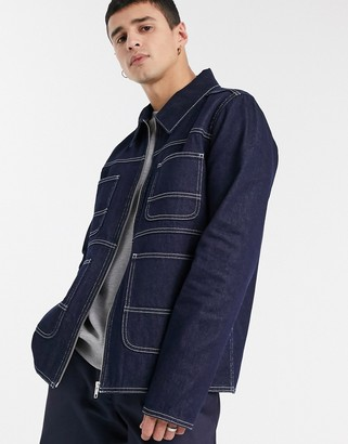 ASOS DESIGN denim jacket in indigo with contrast stitch