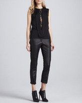 Robert Rodriguez Double-Seam Cropped Leather Pants