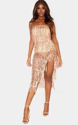 PrettyLittleThing Rose Gold Bandeau Tassel Sequin Sheer Skirt Midi Dress
