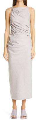 Jacquemus Pampelonne Ruched Cotton & Linen Sheath Dress