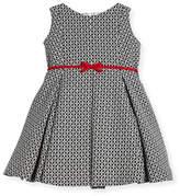 Helena Geometric Print Dress w/ Red Trim, Size 7-14