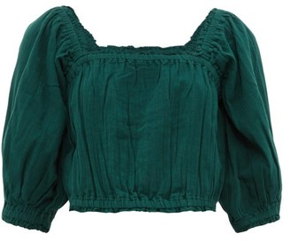 Apiece Apart Francisca Shirred-trim Cotton Cropped Top - Dark Green