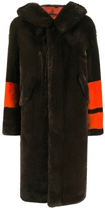Mr & Mrs Italy faux fur striped sleeve coat
