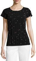 Liz Claiborne Long Sleeve Scoop Neck Paisley T-Shirt-Womens