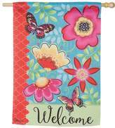 "Evergreen 29"" x 43"" Flowers ""Welcome"" Indoor / Outdoor House Flag"