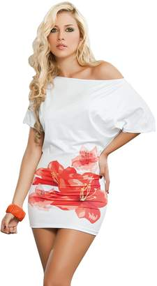 Am.pm. Am:Pm By Espiral Mapale by AM:PM Women's Sexy Off Shoulder Flower Print Mini Dress Casual