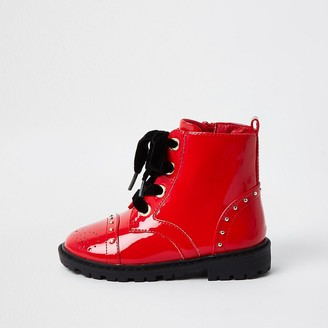 River Island Mini girls Red patent brogue chunky boots