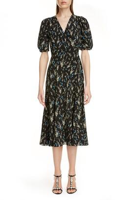 Erdem Floral Print Silk Midi Dress