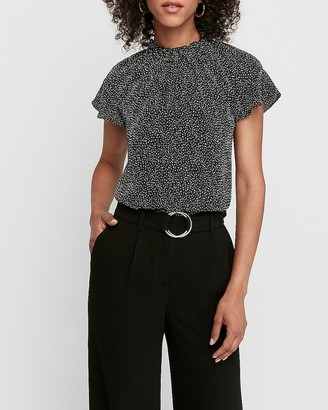 Express Dotted Ruffle Mock Neck Blouse