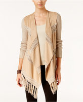 INC International Concepts Fringe-Trim Moleskin Cardigan, Only at Macy's