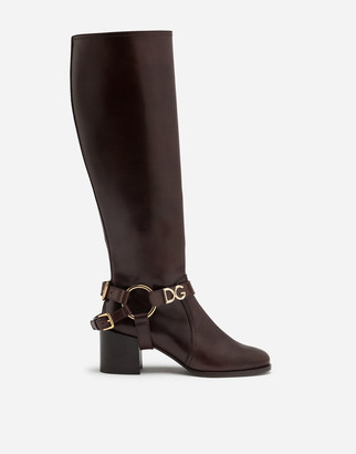 Dolce & Gabbana Boots In Cowhide With Bracket Logo