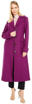 Kate Spade Belted Wool Maxi Coat (Bright Plum) Women's Coat