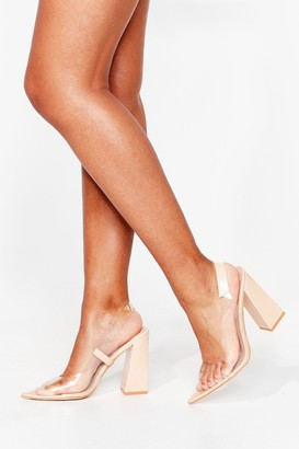 Nasty Gal Womens Clear Things Up Faux Leather Slingback Heels - Beige - 3