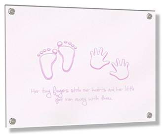 Camilla And Marc Feel Good Art Wall Mounted 3D Acrylic Frame with Stand-Off Bolts (30 x 40 x 0.6 cm, Medium, Soft Pink, Her Little Feet Stole Our Hearts)