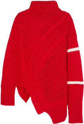 Preen Line Serenity Asymmetric Cable And Open-knit Turtleneck Sweater