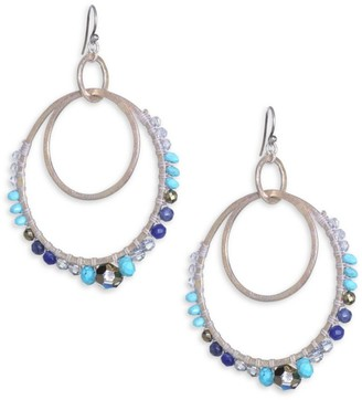 Chan Luu Mix Stone Double Hoop Earrings