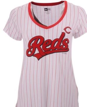 New Era Women's Cincinnati Reds Pinstripe V-Neck T-Shirt