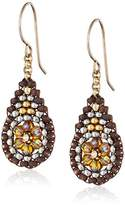 Miguel Ases Cognac Quartz Mini Tear Drop Earrings