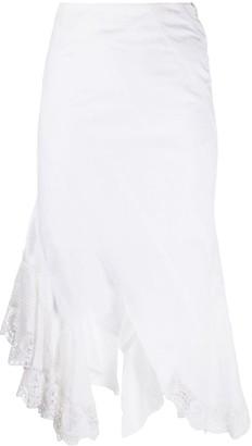 Marine Serre Raw-Cut Edge Lace Skirt