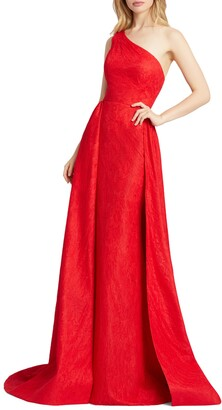 Mac Duggal One-Shoulder Lace Gown