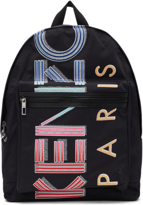 Kenzo Black Large Logo Sport Backpack