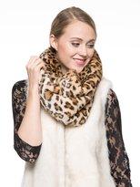 Adelaqueen Women's Fabulous Faux Fur Neck Warmer Leopard Infinity Scarf Brown