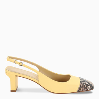 AEYDĒ Green and phyton Drew slingback sandals