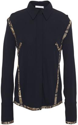 Victoria Beckham Snake-print Twill-trimmed Stretch-jersey Shirt