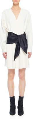 Tibi Chalky Drape Dolman Tie Dress