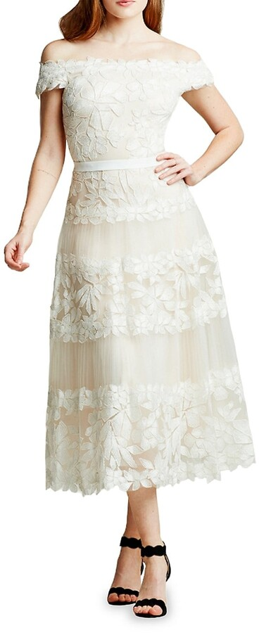 Thumbnail for your product : Tadashi Shoji Floral Embroidered Off-The-Shoulder A-Line Dress