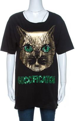 Gucci Black Mystic Cat Guccification Embellished T-Shirt M