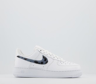 Nike Force 1 Lv8 Trainers White Midnight Navy Silver Snake