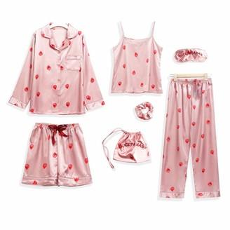 SHUANGA 7 Piece Silk Women's Sexy Lingerie Camisole Stripe Shorts Pyjamas Blindfold Sleepwear Women Satin Lace Babydoll Sleepwear Sleepwear Sleepwear Nightdress - - XL